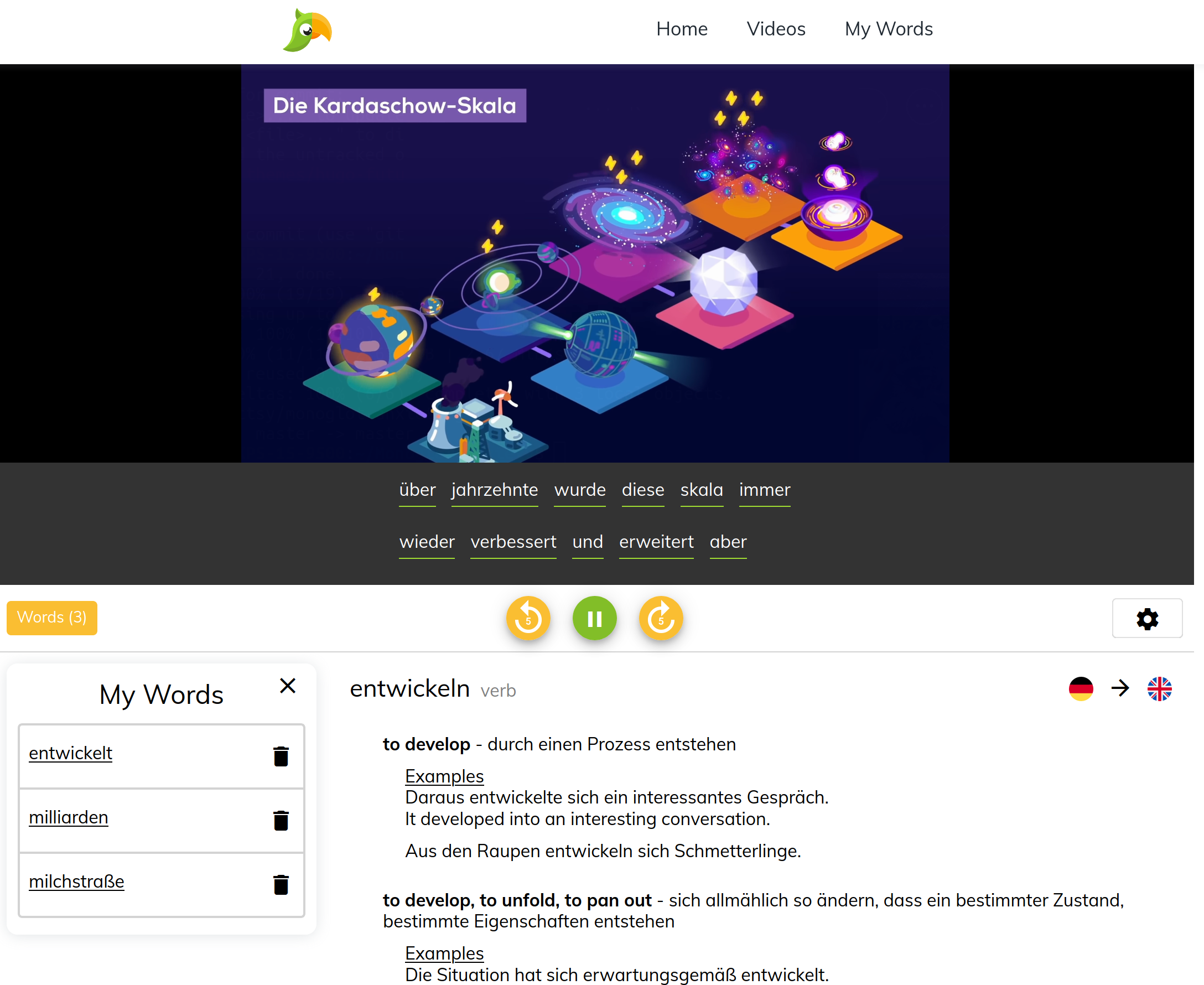 A screenshot of Interpolly. You can use the website to turn youtube videos into German vocabulary lists and quizzes